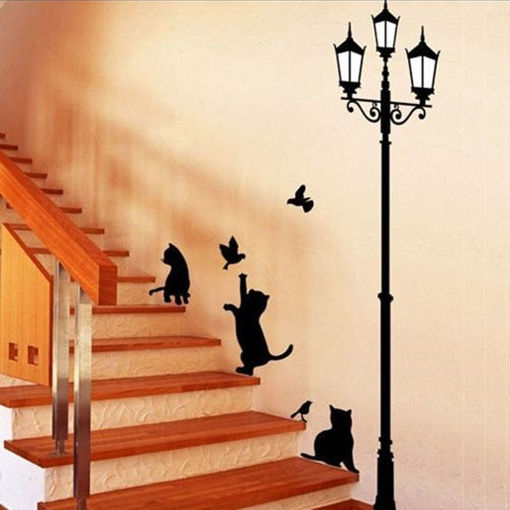 Picture of 23x40CM Lamp Cat Wall Stickers Home Stairs Sticker Decor Decorative Removable Wallpaper