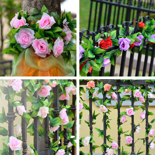 Picture of 2.4m Artificial Plastic Rose Flower Green Leaves Garland Home Garden Wedding Party Decorations