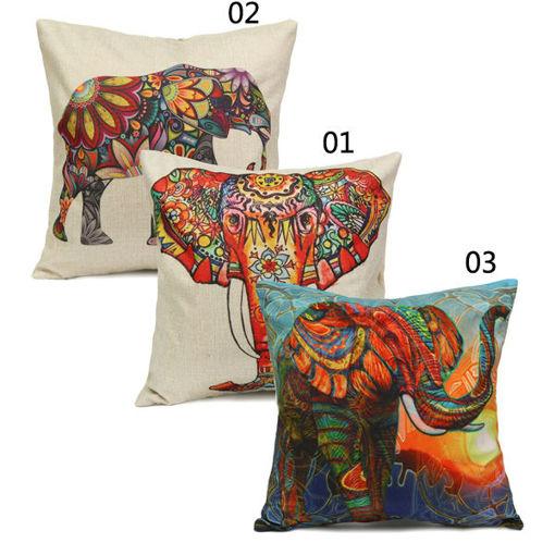 Picture of Vintage Elephant Cotton Throw Pillow Case Waist Cushion Cover Home Sofa Car Decor