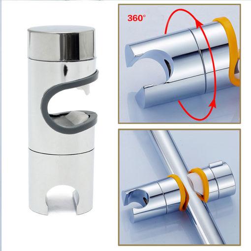 Picture of Bathroom ABS Chrome Finished Shower Head Slider Rail Holder Adjustable Bracket