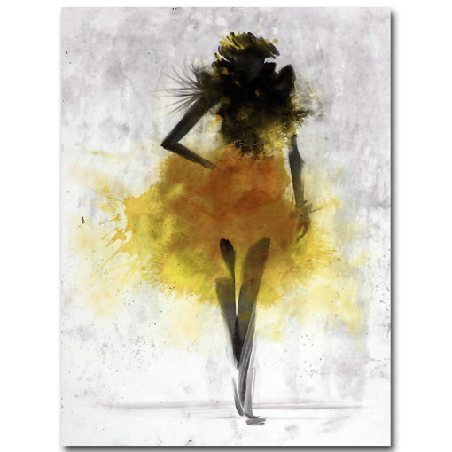 Picture of Fashion Yellow Girl Minimalist Abstract Art Canvas Oil Print Paintings Framed/Unframed