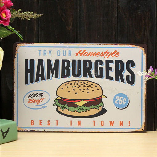 Picture of Hamburgers Sheet Metal Drawing Retro Metal Painting Pub Club Cafe Poster Sign Tin Decor