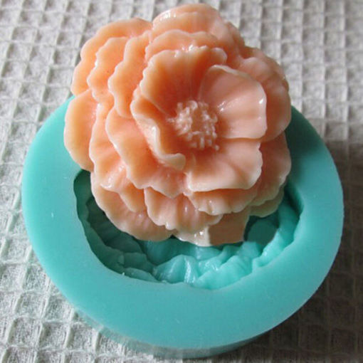 Picture of 3D Mini Peony Fondant Mold Silicone Cake Chocolate Moulds Cake Decorating Baking Tool