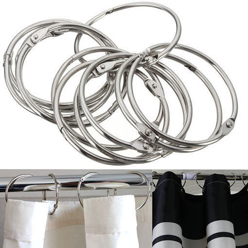 Picture of 12Pcs Stainless Steel Circle Shower Curtain Hook Bath Curtain Glide Hanger