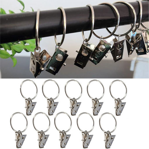 Picture of 10pcs Metal Shower Curtain Rod Hook with Clip Bathroom Fitting
