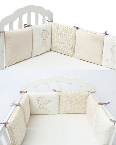 Picture of 6PC A Set Baby Bed Bumpers Cotton Plush Safety Infant Toddler Nursery Beding Protection