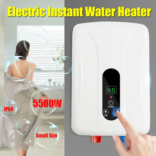 Picture of 5.5KW Tankless Instant Electric Hot Water Heater Boiler Kitchen Bathroom Shower Set
