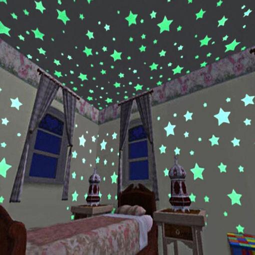 Picture of 100pcs 3D Stars Glow In Dark Luminous Tape Fluorescent Plastic Wall Sticker Wall Decal Decorations