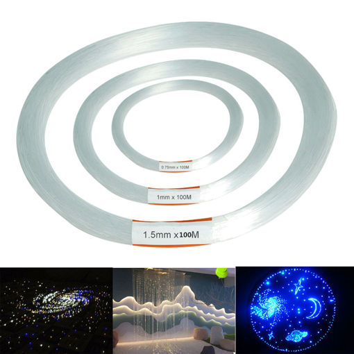 Picture of 100m PMMA Clear Plastic Fiber Optic Cable End Grow Led Light Decorations 0.75 / 1 / 1.5mm