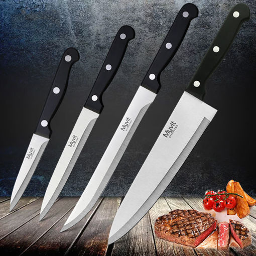 Picture of 4pc MYVIT Stainless Steel Knife Set 3CR13 Kitchen Knife Cook Japanese Kitchen Knife Sharp Meat