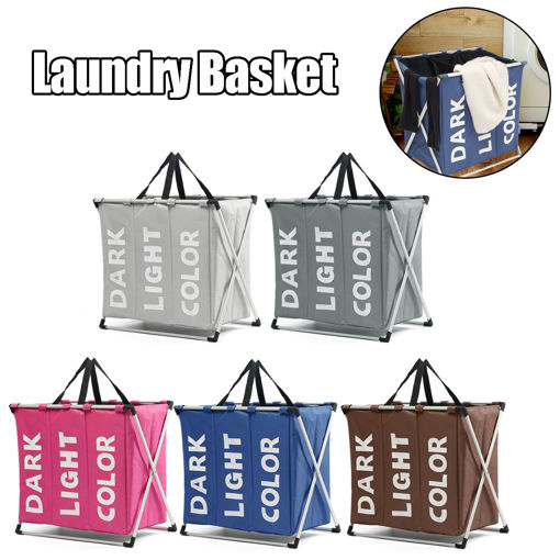 Picture of Cloth Lattice Laundry Basket Three Dirty Clothes Home Furnishing Lint Dirty Clothes Storage Baskets