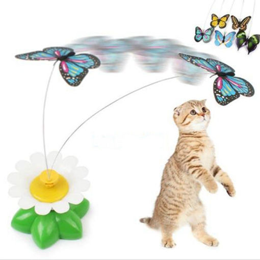 Picture of Funny Pet Cat Kitten Toys Electric Rotating Butterfly Rod Pet Cat Teaser Play Toy