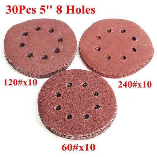 Picture of 30pcs 5 Inch 8 Holes Abrasive Sanding Discs Sanding Paper 60/120/240 Grit Sand Paper