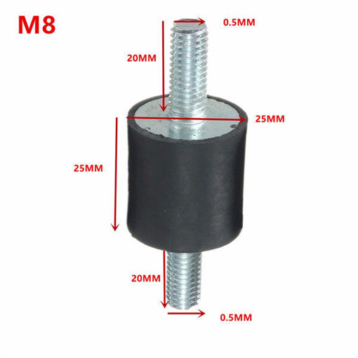 Picture of 4pcs M8x25x25mm Rubber Shock Absorber Doubles Ends Rubber Mounts Vibration Isolator Mounts