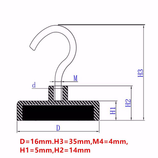 Picture of N52 16x35mm Magnetic Strong Hook Pot Magnet Neodymium Magnet Salvage Tool