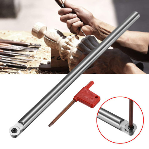 Picture of R6 250mm Wood Turning Tool Turning Chisel Round Shank with Wood Carbide Insert Cutter