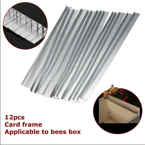 Picture of 12Pcs Galvanized Steel Bee Hive Beekeeping Brood Box Card Frame Runners 15 Inch Beekeeping Frame