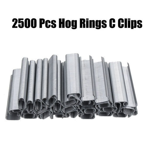 Picture of 2500Pcs Hog Rings C Type Staples Clips Rings Steel Wire Fencing For Pet Cage Plier