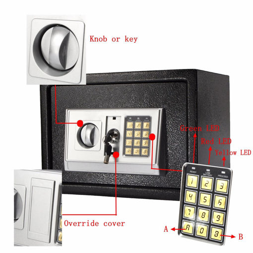 Picture of 250350250mm Black Steel Digital Electronic Coded Lock Home Office Safe Box Override Key