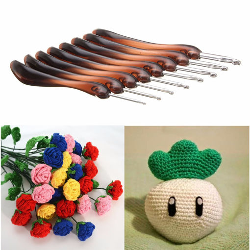 Picture of 8PCS Soft Handle Crochet Hooks Needles Knitting Set Needles Knit Yarn Weave Craft 2.5mm-6mm